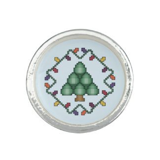 Christmas Tree Cross Stitch Quilt Square Ring