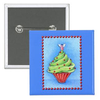 Christmas Tree Cupcake blue Button
