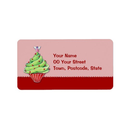 Christmas Tree Cupcake red2 Address Label