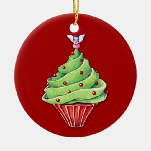 Christmas Tree Cupcake red Ornament