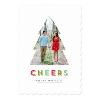 Christmas Tree Cut Out Holiday Cheers Card