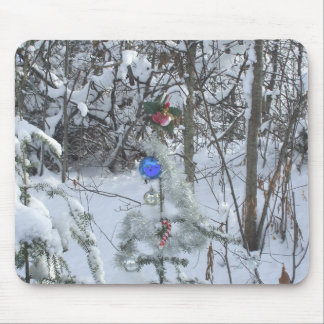 Christmas Tree Decorated outdoors Mouse Pad