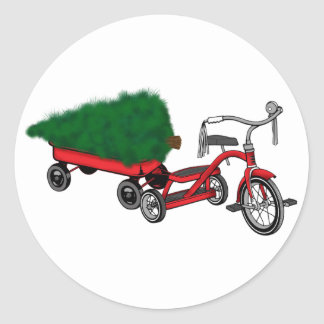 christmas tree delivery classic round sticker