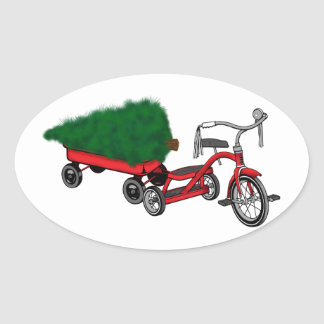 christmas tree delivery oval sticker