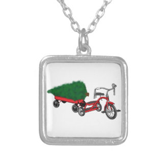 christmas tree delivery silver plated necklace