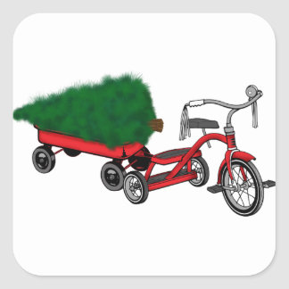 christmas tree delivery square sticker