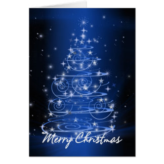 Christmas tree design stars and swirls card