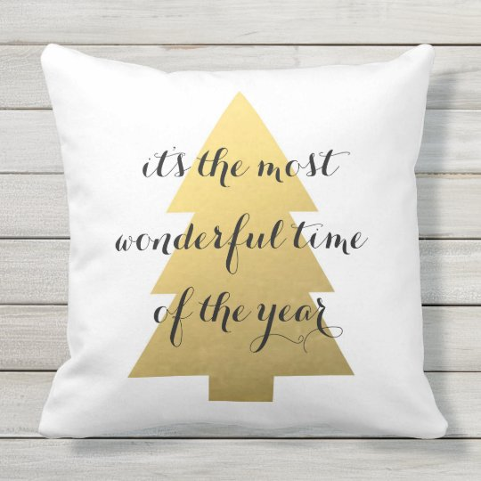 Christmas tree faux gold outdoor pillow