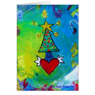Christmas Tree Flying Heart Card