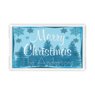 Christmas Tree Forest Personalized Acrylic Tray