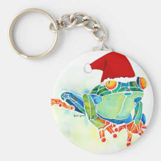 Christmas Tree Frog Key Ring Basic Round Button Keychain