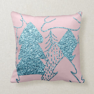 Christmas Tree Gold Blue Glitter Prism Pink Ocean Throw Pillow