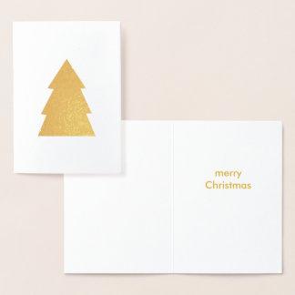 Christmas Tree Gold Foil Merry White Foil Card