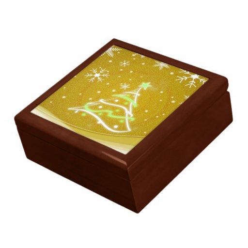 Christmas tree  gold trinket box