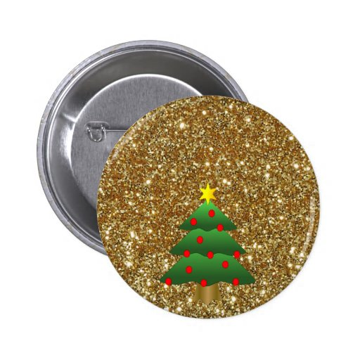 Christmas Tree gold Glitter Buttons