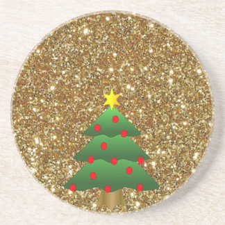Christmas Tree gold Glitter Drink Coaster