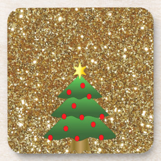 Christmas Tree gold Glitter Drink Coasters
