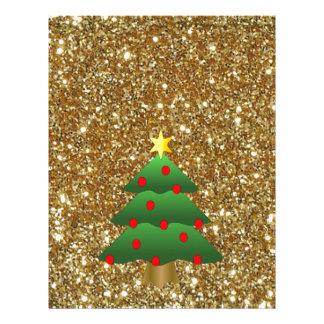 Christmas Tree gold Glitter Letterhead