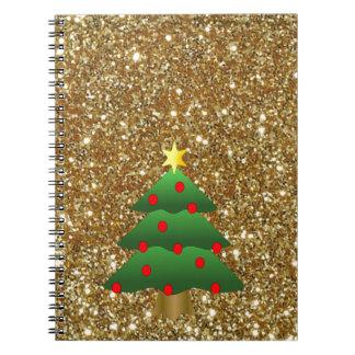 Christmas Tree gold Glitter Spiral Notebooks