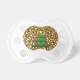 Christmas Tree gold Glitter Pacifiers