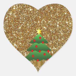 Christmas Tree gold Glitter Stickers