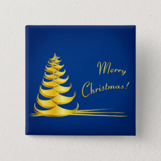 Christmas Tree, Golden 2 Inch Square Button