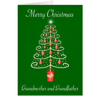 Christmas Tree Grandmother Grandfather Christmas Card