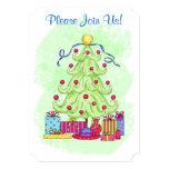 Christmas Tree Green Custom Invitation Open House