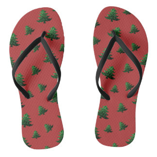 Christmas tree green sparkles pattern on Red Flip Flops