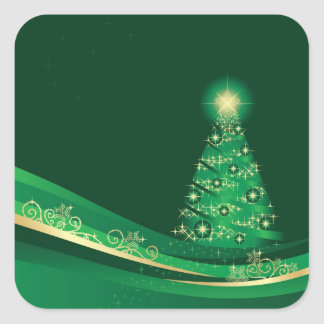 Christmas tree, green Xmas winter garden sticker