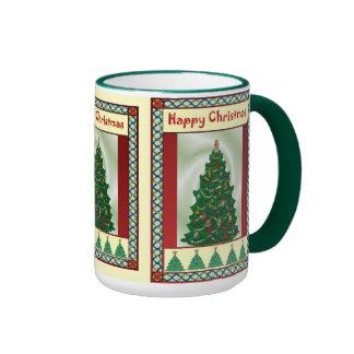 Christmas tree, happy Christmas Ringer Coffee Mug