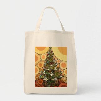 Christmas Tree Happy Holidays Circle Mosaic Tote Bag