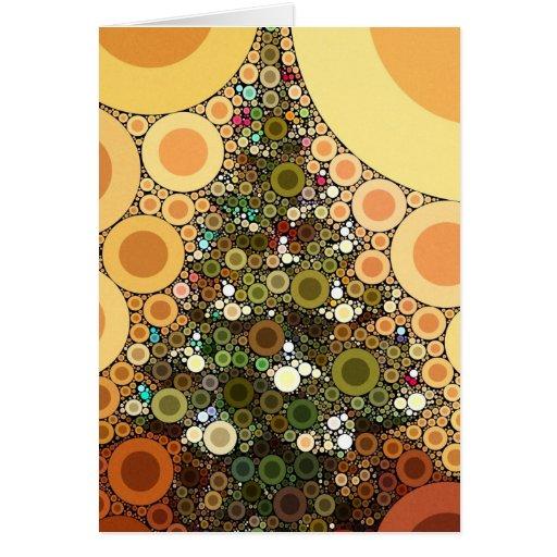 Christmas Tree Happy Holidays Circle Mosaic Cards