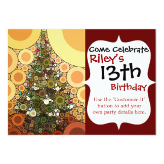 Christmas Tree Happy Holidays Circle Mosaic 5x7 Paper Invitation Card