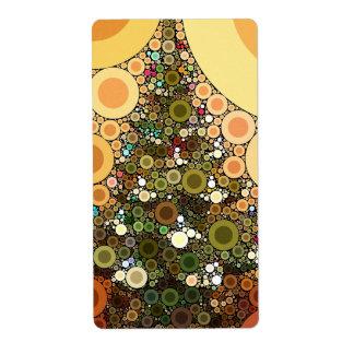 Christmas Tree Happy Holidays Circle Mosaic Shipping Labels