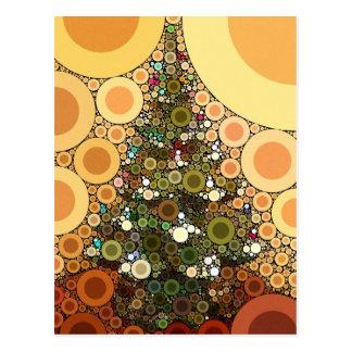 Christmas Tree Happy Holidays Circle Mosaic Postcard