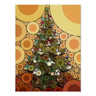 Christmas Tree Happy Holidays Circle Mosaic Poster