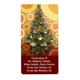 Christmas Tree Happy Holidays Circle Mosaic Shipping Label
