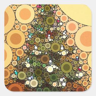 Christmas Tree Happy Holidays Circle Mosaic Square Sticker