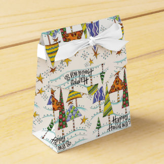 Christmas Tree Happy Holidays Favor Boxes