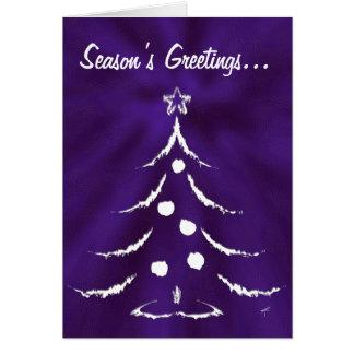 Christmas Tree Holiday Greeting Card, White/Purple Card