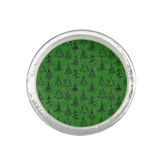 Christmas Tree Holiday Pattern Photo Ring