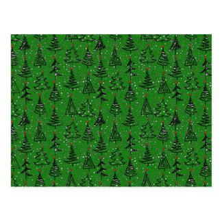 Christmas Tree Holiday Pattern Postcard