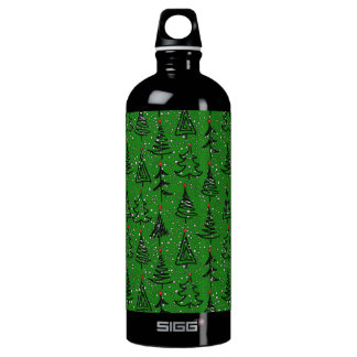 Christmas Tree Holiday Pattern Water Bottle