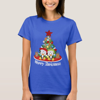 Christmas tree Holiday penguins add message T-Shirt