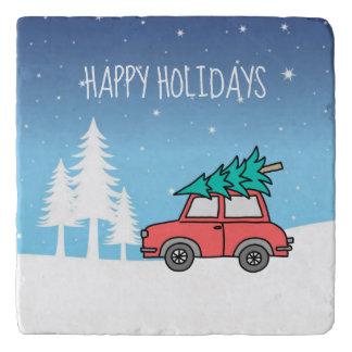 Christmas Tree Holidays Marble Stone Trivet