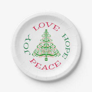 Christmas Tree Hope Holiday Paper Plate