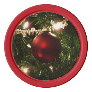 Christmas Tree I Holiday Pretty Green and Red Poker Chip Set