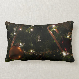 Christmas Tree III Holiday Candy Cane and Ornament Lumbar Pillow
