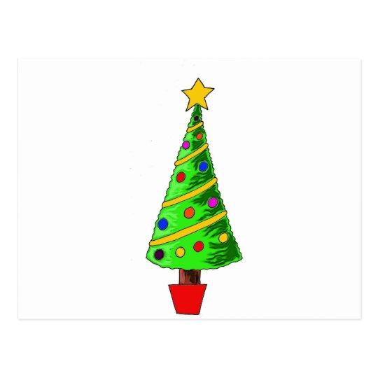 Christmas Tree Illustration Postcard